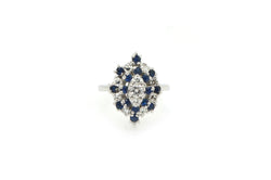 Vintage 14k White Gold Diamond & Sapphire Cluster Ring - .90 ct total - Size 4.5