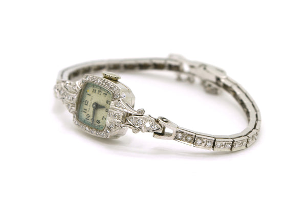 Vintage Ladies 14k White Gold Hamilton Diamond Watch - 17 Jewels - .50 ct. total