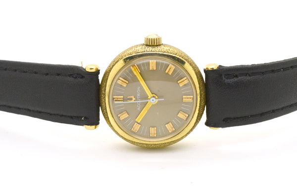 Vintage 14k Yellow Gold Bulova Accutron Quartz Watch H34521 - Black LeatherStrap