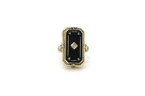 Vintage 14k White Gold 2-Sided Cameo Onyx Diamond Spinner Filagree Ring - Size 4