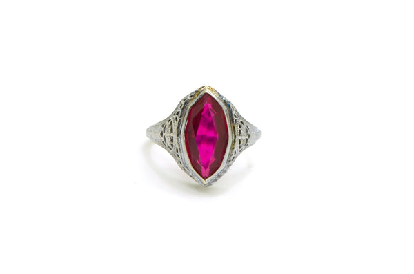 Vintage Art Deco 14k White Gold Marquise Synthetic Ruby Filagree Ring - Size 6