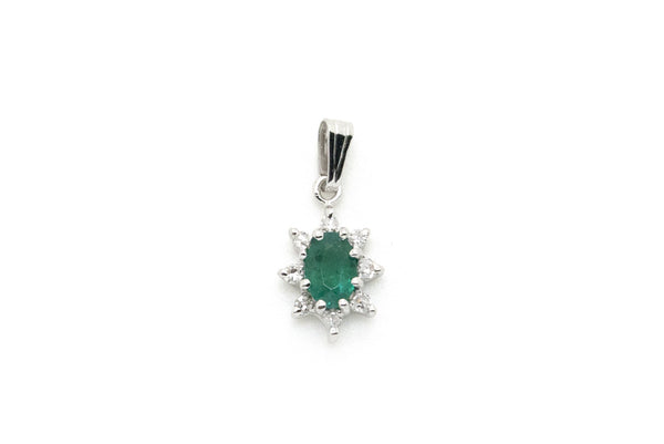14k White Gold Emerald Pendant with Diamond Halo - 18 mm by 8 mm - .30 ct. total