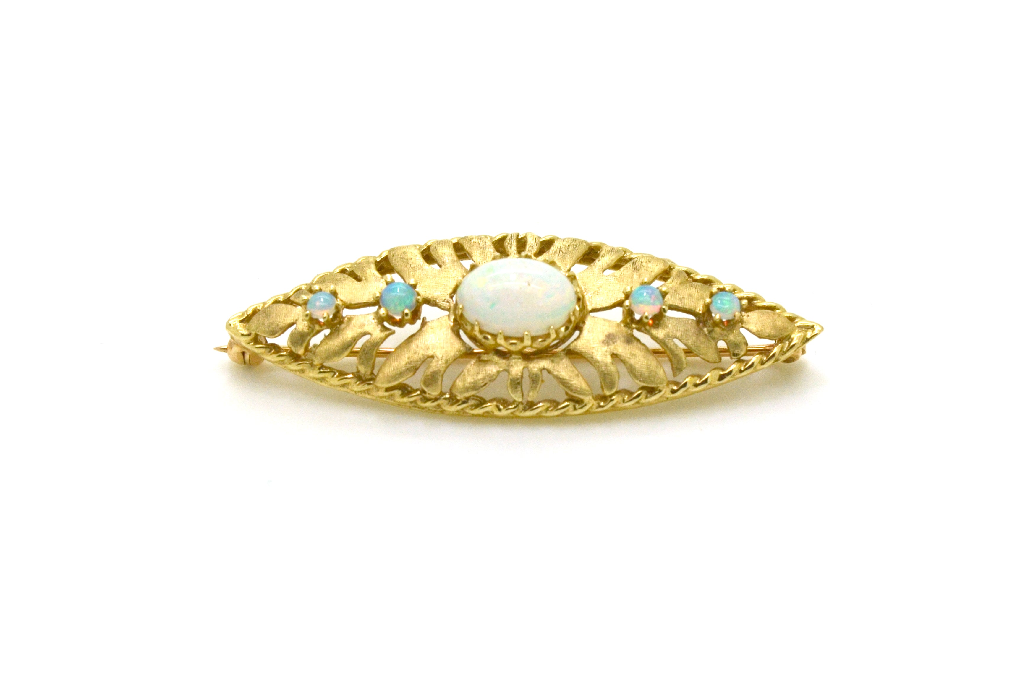 Vintage 14k Yellow Gold Pin Brooch with Opal Cabochon Gemstones - 51 mm by 18 mm