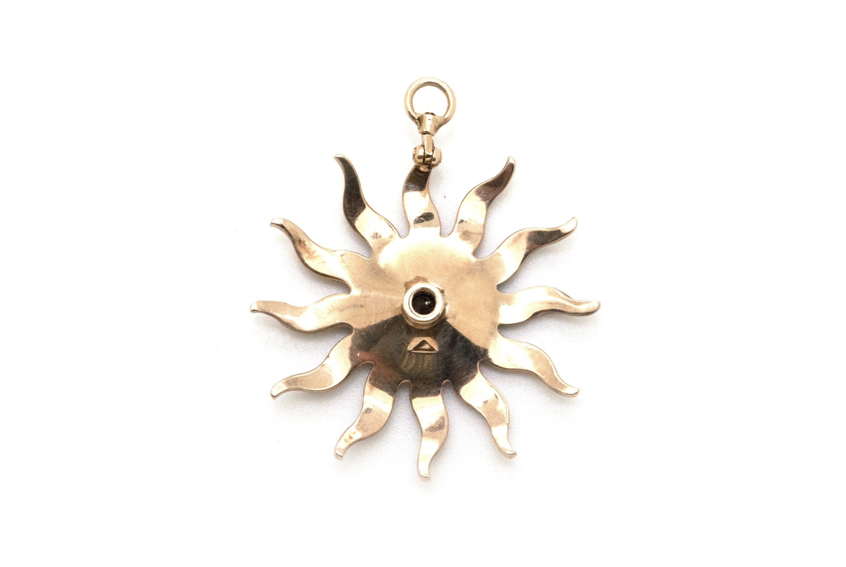 Victorian 14k Yellow Gold Seed Pearl & Diamond Star Flower Pendant - .10 ct.