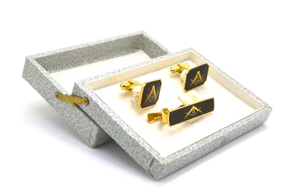 Vintage Costume Yellow Colored Masonic Pair of Cufflinks & Matching Tie Clip Set