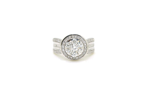10k White Gold Cluster Diamond Halo Statement Ring - 1.00 ct. total - Size 5
