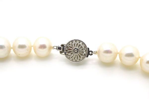 14k White Gold Round White 11 mm Pearl Strand Necklace with Clasp - 17.5 in.