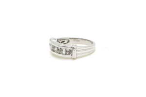18k White Gold Princess & Baguette Diamond Band Ring - .60 ct. total - Size 7