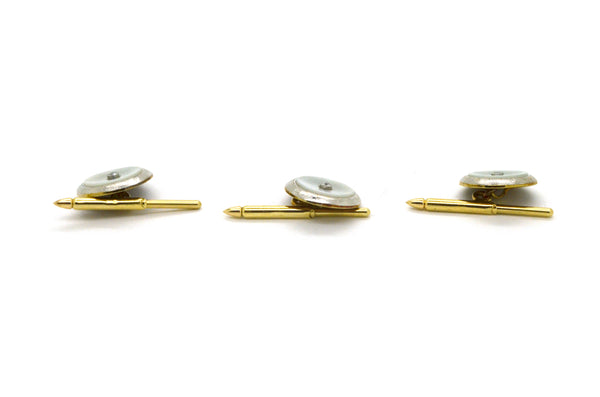 Vintage 14k Yellow Gold Set of 3 Studs - Mother of Pearl & Diamonds - .03 ct. tw