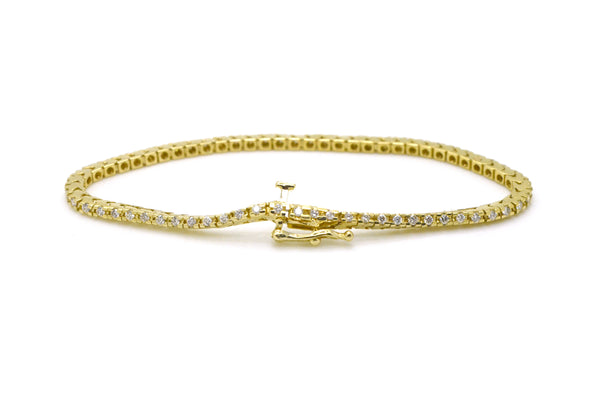 14k Yellow Gold Round Diamond 2.1 mm Tennis Bracelet - 1.50 ct. total - 6.5 in.