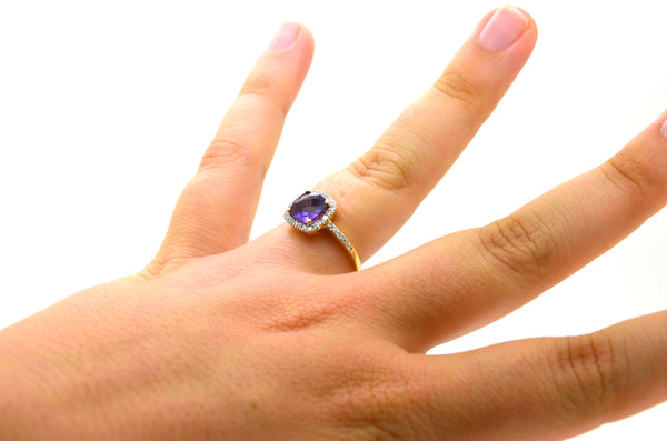 14k Yellow Gold Round Diamond & Amethyst Halo Cocktail Ring - 1.70 ct. - Size 6