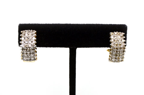 10k Yellow Gold Cluster Diamond Huggie Earrings - 20 mm Drop - 1.00 ct. total