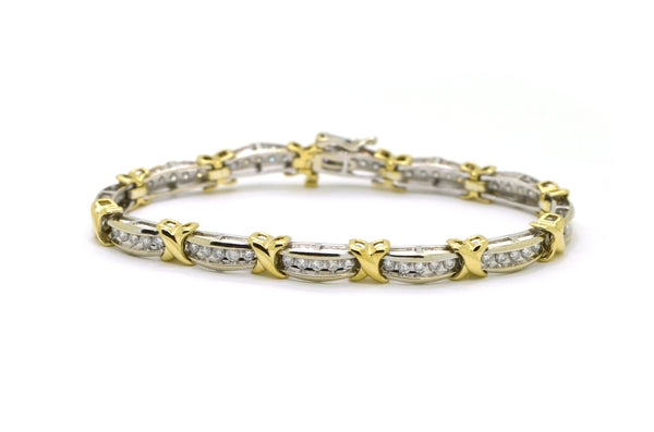 10k White & Yellow Gold Round Diamond Tennis Bracelet - 1.50 ct. total - 7 in.