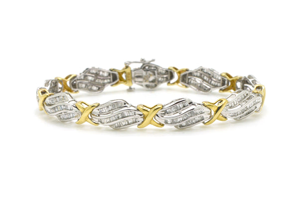 10k Yellow & White Gold Diamond Link Tennis Bracelet - 3.00 ct. total - 7 in.
