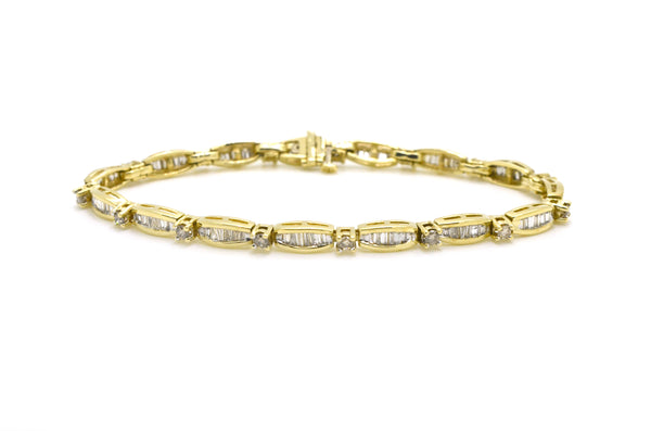 14k Yellow Gold Round & Baguette Diamond Bracelet - 2.00 ct. total - 7.5 in.