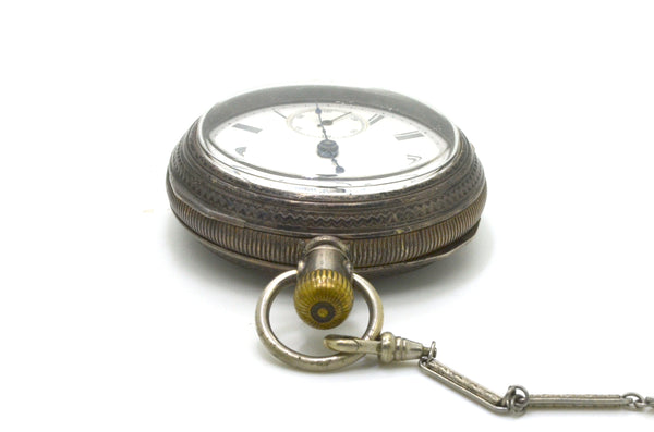 Vintage Silver Elgin National Pocket Watch with Chain & Leather Case - 2682749