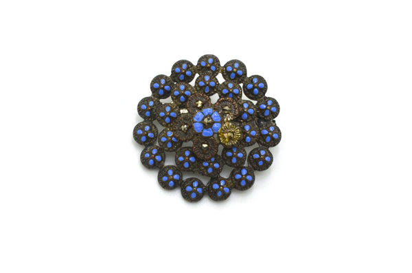 Vintage Costume Jewelry Brooch with Blue Enamel and Hematite Stones - 35 mm