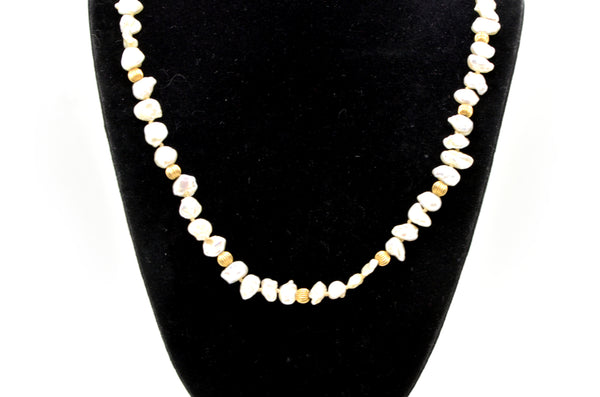 Vintage 14k Yellow Gold Fluted Beads & Baroque Pearl Strand Necklace - 29 in.