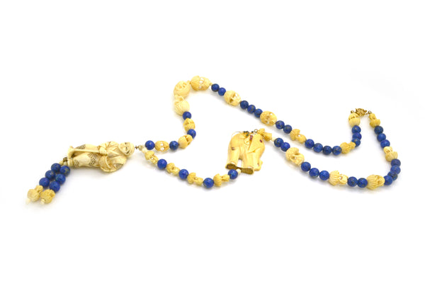 Vintage 14k Yellow Gold Lapis Necklace with Ivory Carved Beads and Pendant Necklace - 27 in. length