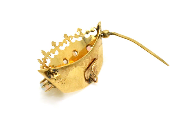 Vintage 14k Yellow Gold Royal Crown Pin Brooch with Round Opal Cabochons