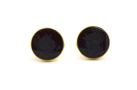 14k Yellow Gold Round Cufflinks with Black Onyx Knight Intaglio Relief Cameos