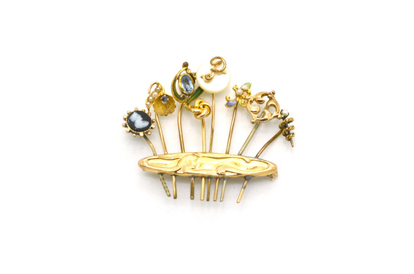 Vintage 14k Yellow Gold Composite Pin Brooch with Pearls, Gemstones, & Enamel