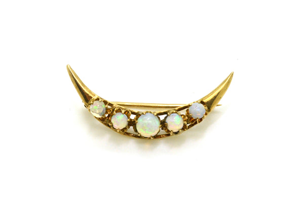 Vintage 14k Yellow Gold Crescent Moon Pin Brooch with Round Opal Cabochons