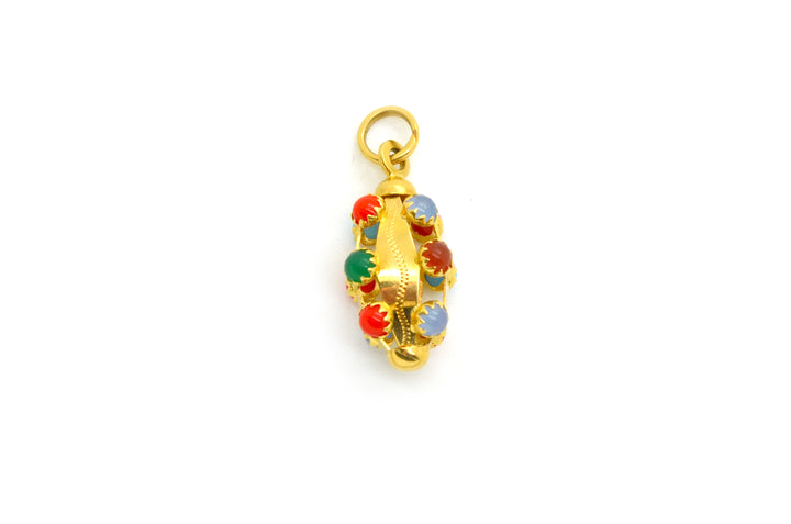 18k Yellow Gold Charm Pendant with Multicolored Quartz and Carnelian Gemstones