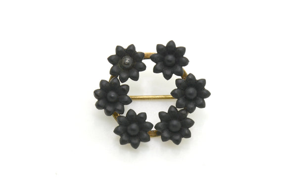 Vintage 14k Yellow Gold Round Onyx Flower Crown/Halo Pin Brooch - 27 by 24 mm