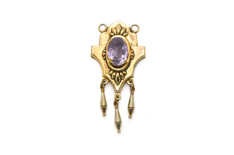 Vintage Costume Jewelry Pendant with Dangling Charms & Amethyst - 58 mm drop