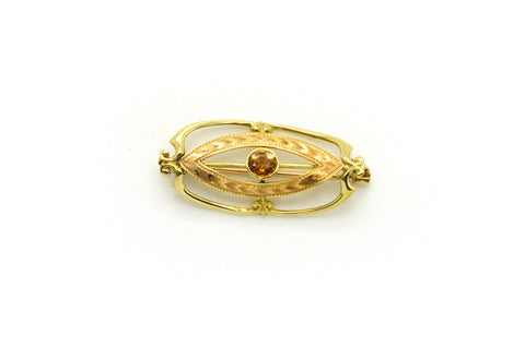 Vintage 10k Yellow Engraved Pin Brooch with Orange Citrine Stone - .20 ct.