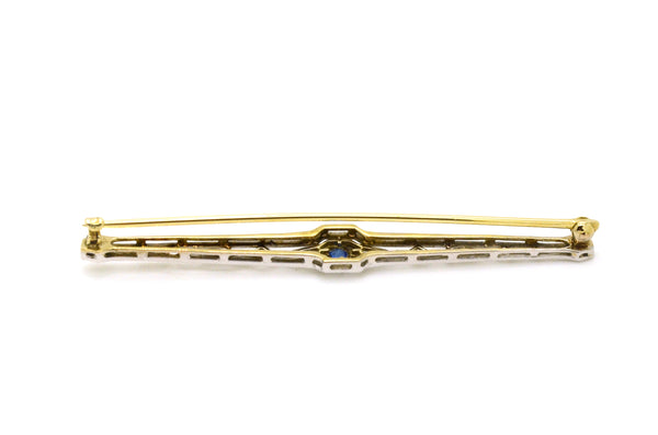 Vintage Art Deco 14k Yellow White Gold Filagree Sapphire Bar Brooch Pin - .05 ct