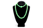 Vintage Green Stone Costume Jewelry Strand Necklace & Bracelet - 13 in. & 8 in.