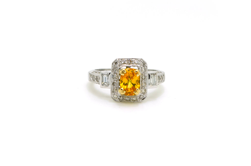14k White Gold Yellow Sapphire & Diamond Halo Ring - 1.81 ct. total - Size 6.5