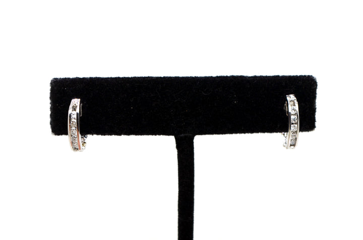 14k White Gold Round Diamond Channel-set Huggie Hoop Earrings - .25 ct. total