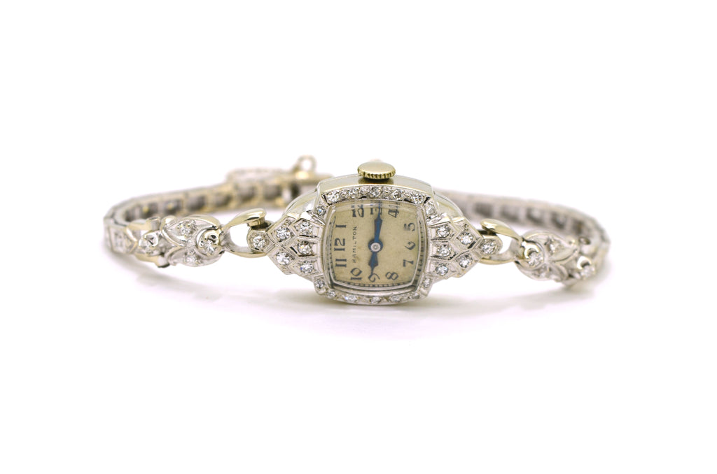 Vintage Ladies 14k White Gold Hamilton Watch with Diamonds - .50 ct. total