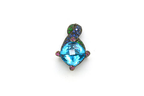 BA 18k White Gold Oxidized Blue Topaz Pendant with Sapphires - 8.00 ct. total