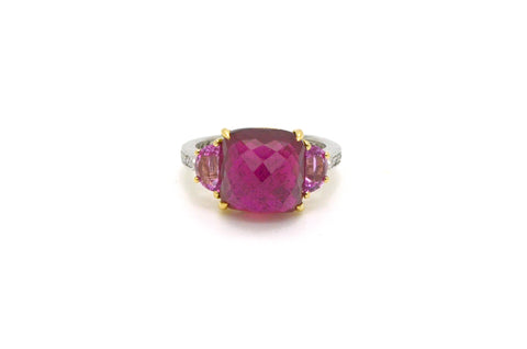 Platinum &18k Yellow Gold Pink Sapphire Pink Tourmaline Diamond Ring - Size 6.25
