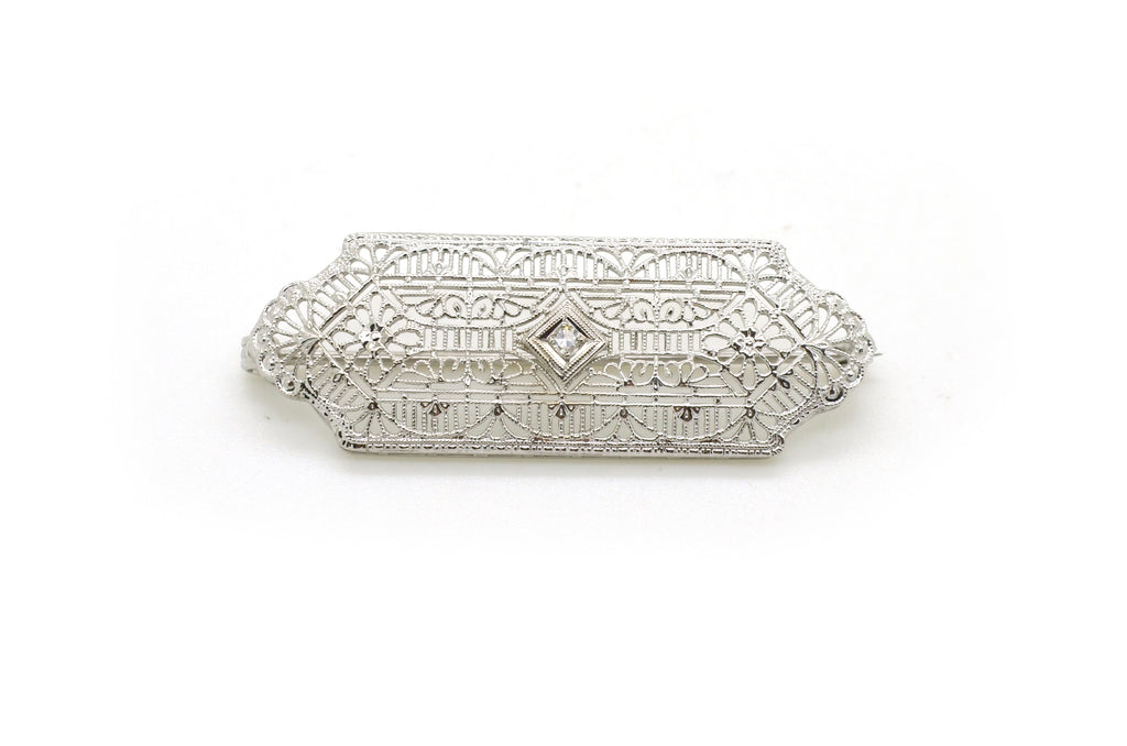 Vintage 14k White Gold Art Deco Diamond Filagree Bar Pin Brooch - .02 ct.