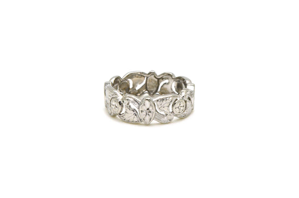 Vintage Platinum Engraved Flower Floral Foliage Band Ring - 6.6 mm - Size 6.5