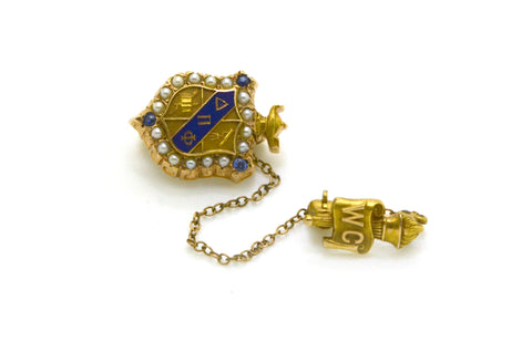 Vintage 10k Yellow Gold Delta Pi Phi Collegiate Organization Brooch Badge