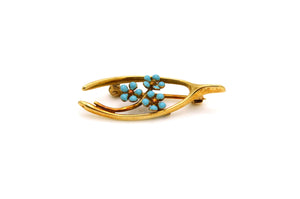 Vintage 14k Yellow Gold Wishbone Teal Blue Enamel Flower Brooch - 33 by 13 mm