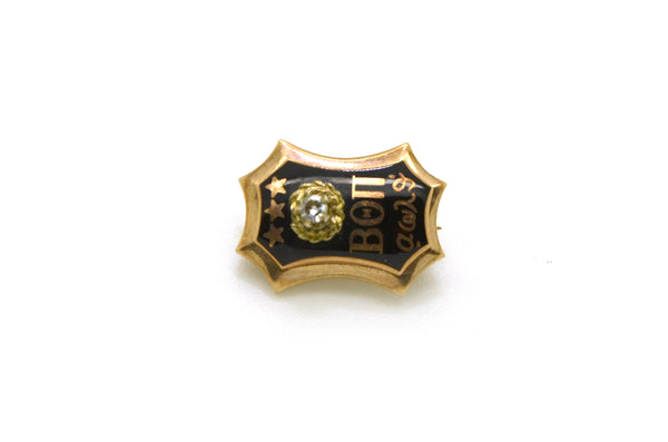 Vintage 10k Yellow Gold Beta Theta Pi Fraternity Enamel Diamond Pin Brooch Badge