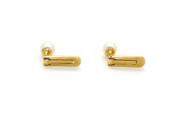 Vintage 14k Rose Gold Set of Two Studs with Round White Pearls