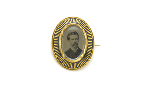 Vintage 14k Yellow Gold Photo Cameo Men's Portrait Pin Brooch with Black Enamel