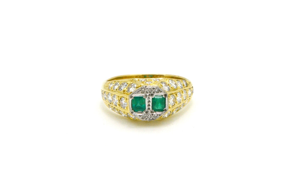 Vintage 18k Yellow Gold Emerald & Diamond Signet Ring - 2.00 ct. tw - Size 10.5
