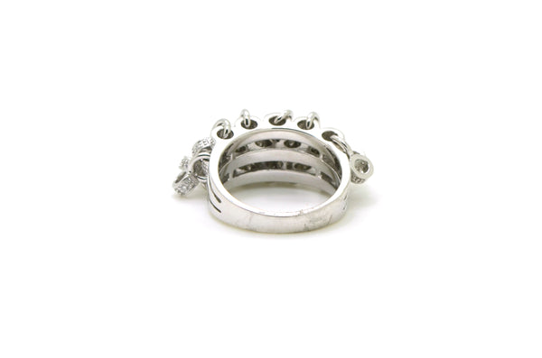 14k White Gold Diamond Tambourine Jingling Cocktail Ring - .30 ct. tw - Size 6.5