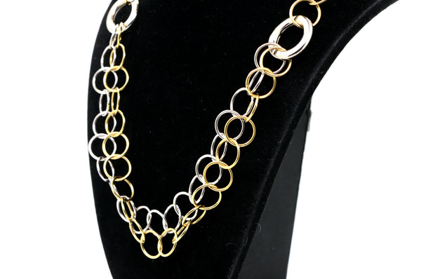 14k White and Yellow Gold Wide Link Loop Chain Necklace - 16.75 in.