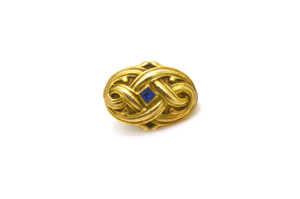 Vintage Art Nouveau 14k Yellow Gold Blue Sapphire Clip Brooch with Scroll Design