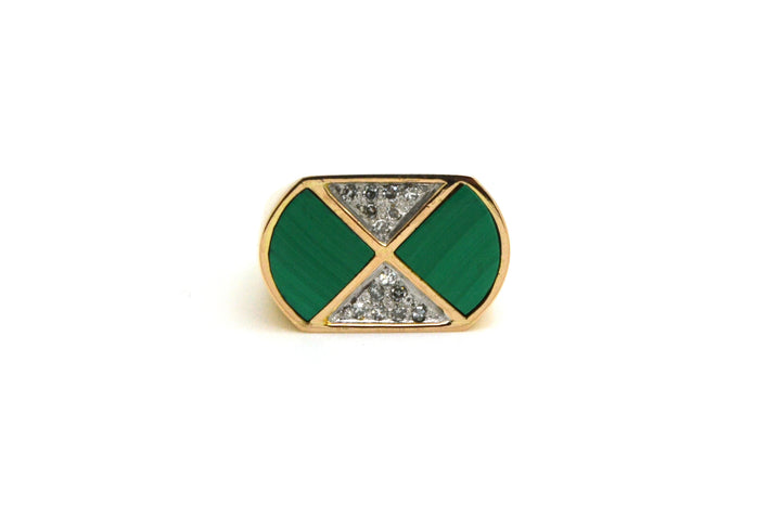 14k Rose Gold Green Malachite Inlay & Diamond Signet Ring - .15 ct tw - Size 6.5